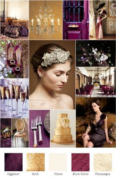 Eggplant Plum Gold Champagne Inspiration Board without the plum velvet lol