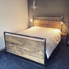 Reclaimed Industrial Chic Hand Made King Size Bed.Bar and Cafe Restaurant Furniture Steel and Wood Made to Measure,office