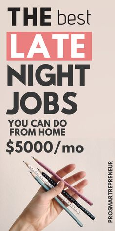 "looking to work late at night from home? there are many late-night ""work from home"" jobs you can choose from which are both flexible and lucrative. Legit work from home jobs, online jobs, part time work from home jobs, money making side hustle ideas, late night jobs to earn extra cash on the side. If you're looking for #workfromhomecareers  #workfromhomecompanies will help you make $1000 or more every week. #freelancingjobs #remotejobsathome"