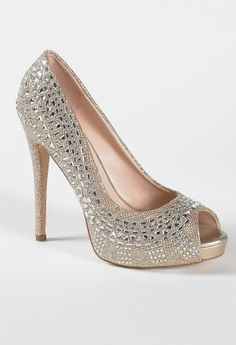 High Heel Glitter Open Toe Pump with Crystals from Camille La Vie