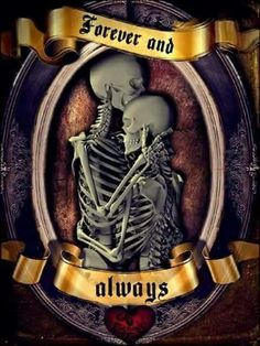 Not till death do us part, I love u now just as much after your departure. Death can't separate us.life and death Skeleton Love, Skeleton Art, Skeleton Couple Tattoo, Skull Tattoos, Body Art Tattoos, Tatoos, Image Tatoo, Dark Love, My Love
