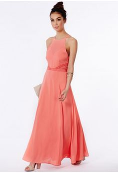 Missguided - Kamilinka Lace Backless Maxi Dress In Coral