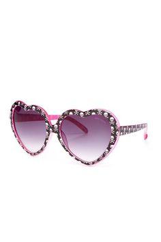 Women's Heart & Skull Sunglasses--Betsey Johnson