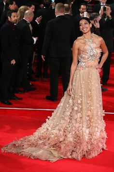 Stephanie Sigman wore a Marchesa Spring 2016 confection while attending the Royal Film Performance of 'Spectre' at the Royal Albert Hall in London England on (October 26, 2015)