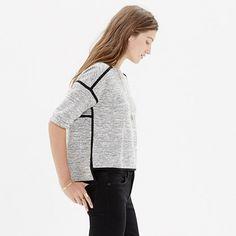 Textured Crop Sweatshirt : short sleeve | Madewell