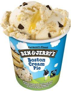Boston Cream Pie Ice Cream with Yellow Cake Pieces, Fudge Flakes & Swirls of Pastry Cream Ben Und Jerry, Ice Cream Flavors List, French Vanilla Creamer, Swirl Cake, Toffee Bars, Mantecaditos, Boston Cream Pie, Ice Cream Pies, Ben And Jerrys Ice Cream
