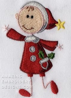 "This free embroidery design is called the ""Christmas Lady""."