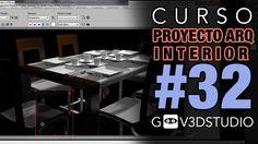 3ds max Proyecto Arquitectura Interior -32- Materiales Vray Comedor. (+l...