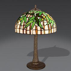 Lampada da Tavolo stile Tiffany con fantasia a canne di Bambù. Altezza 62 centimetri; Diametro 42 centimetri.