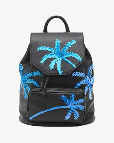 The schoolyard staple is all grown-up, handcrafted in buttery soft leather with sequined palm trees. Materials: Calf leather, cotton lining Dimensions: Adjustable straps 72-76.5cm, 29cm x 40cm x 17cm Care: Avoid wetting surface, for scratches treat with cream for leather Made in Italy