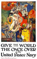 To be fair, this poster, by James Henry Daugherty, was released just after the war, but it's hard to leave out of this collection when it has such fantastic artwork and a classic message inspiring people to see the world by joining the Navy. Us Navy Recruiting, Ww1 Posters, Political Posters, Travel Posters, Joining The Navy, Propaganda Art, Navy Military, Military Life, United States Navy