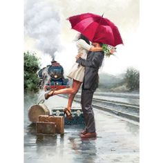 Add an elegant and simple appeal to your home decor using Trademark Fine Art Couple on Train Station by The Macneil Studio Printed Canvas Wall Art. Art Couple, Couple Painting, San Francisco Art, Umbrella Art, New York Art, Art World, Love Art, Canvas Wall Art, 3 Piece Canvas Art