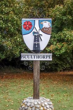 Sculthorpe Village sign. Norfolk. Norfolk Holiday, Norfolk England, Great Yarmouth, English Village, Pub Signs, Seaside Towns, English Countryside, British Isles, Vintage Signs