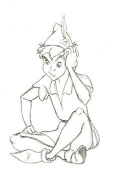 Disney sketch of Peter Pan Disney Sketches, Disney Drawings, Cartoon Drawings, Drawing Sketches, Pencil Drawings, Art Drawings, Drawing Ideas, Drawings Of Disney Characters, Drawing Drawing