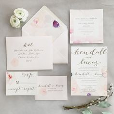 Laney Floral Watercolor Wedding Invitation Suite with Twine