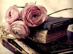 Love the flower's mauve color against the dark vintage books~❥