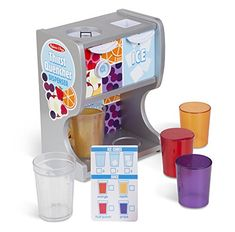 Melissa & Doug Wooden Thirst Quencher Drink Dispenser With Cups, Juice Inserts, Ice Cubes pcs) Little Girl Toys, Toys For Girls, Kids Toys, Baby Girl Toys, Punch Aux Fruits, Fruit Punch, Diy Karton, Pretend Kitchen, Ikea Play Kitchen