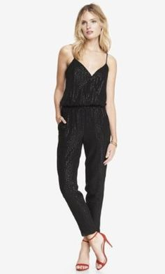 1701a30054e1 ALL-OVER SEQUIN CROSSOVER CAMI JUMPSUIT from EXPRESS Rompers Women