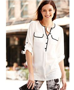 Fall Trend Report Piped Modern Blouse Look - Womens - Macy's