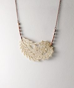 lace necklace- OCEANE - paisley floral necklace- ivory - bridal