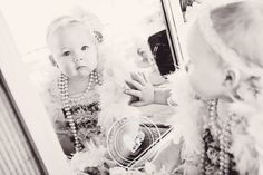 baby in pearls, baby with mirror photos, one year photography, vintage baby, one year picture ideas