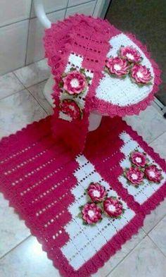 Jogo de banheiro | Croche | barbante | rosa | Branco | com flores