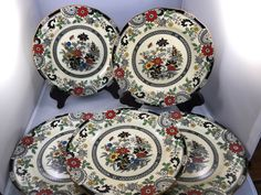 Antique Coalport England A.D.1750. Kings Ware Canton Black Transferware and Hand Painted Trio Retro Collectable English Coalport Ware. Circa 1880 - 1910 Set of five luncheon or dessert dishes. In excellent condition. Great for use or decor. Beautiful Canton design - set the standard for introduction of asian art in the early part of the 20th century. Measure 8.5""