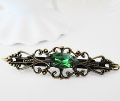 Emerald Hair Barrette Ms Hepburn. $16.00, via Etsy.