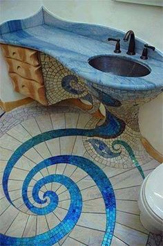 Mosaic floor & sink, love the design! Hope there's an access panel on the other wall for the plumbing, though. Mosaic floor & sink, love the design! Hope there's an access panel on the other wall for the plumbing, though. Mosaic Bathroom, Glass Mosaic Tiles, Mosaic Art, Mermaid Bathroom, Mosaic Floors, Flooring Tiles, Peacock Bathroom, Bathroom Stuff, Bathroom Art