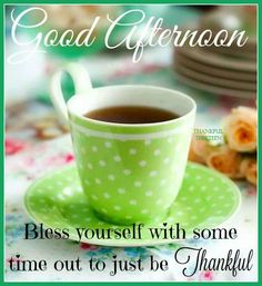 Good Afternoon  -   Bless yourself with  some time out to just be Thankful