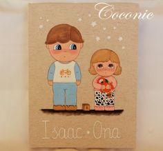 COCONIC: Cuadro infantil pintado a mano de dos hermanitos en pijama que se van a dormir, totalmente personalizado.