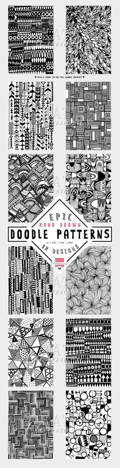 12 original, funky hand drawn doodle patterns straight from the sketchbook of Katy Clemmans!    Literally days of complex, intricate doodle line art, digitised and brought to you in vector and PNG/JPEG format. (affiliate)