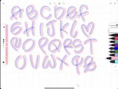 Hand Lettering Styles, Hand Lettering Alphabet, Graffiti Alphabet, Bullet Journal Lettering Ideas, Bullet Journal Ideas Pages, Cute Letters, Lettering Tutorial, Handwriting Fonts, School Notes