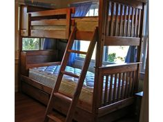 Mission Twin Bunk Bed with Storage - Custom Stain + Lacquer Clearcoat