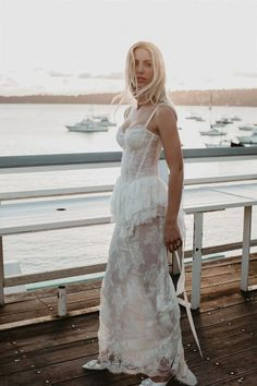 As August comes to a close, a beautiful, relaxed, coastal wedding seems most fitting to share. Designer Cydney Morris of Stone Cold Fox and her guy Ollie met in Venice Beach while he was traveling from Australia for work. Fast forward to their Watsons Bay Hotel wedding in Sydney, and we can see just how perfectly their different coastal upbringings meshed in their vintage-inspired nuptials. Fox Wedding, Wedding Bells, Wedding Gowns, Wedding Day, Stone Cold Fox, 100 Layer Cake, Bridal Fashion Week, Hotel Wedding, Vintage Inspired