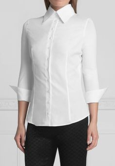 Professionally chic and form fitting, this Sleeve darted T-Blouse will be your next wardrobe staple. Shop Connie and other women's shirts at Anne Fontaine. Crisp White Shirt, White Shirts, White Blouses, Sewing Shirts, Women's Shirts, High Collar Blouse, Fashion For Women Over 40, Blouse Outfit, Work Wardrobe
