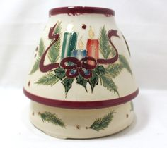 Chesapeake Bay Collectable 2PC Stoneware Christmas Jar Candle Holder New