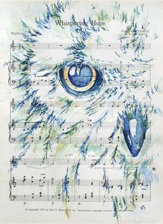 Snowy Owl on Inspirational Hymn Whispering Hope by kitsunderland, $60.00