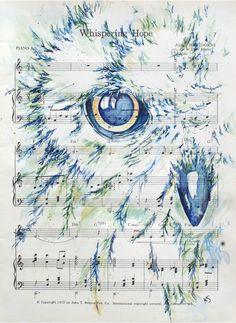 Snowy Owl on Inspirational Hymn Whispering Hope by kitsunderland, $60.00
