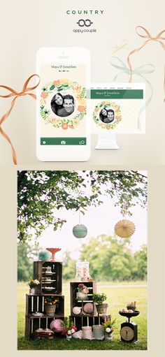 Our heart for rustic country wedding design never ends, down to your wedding app by Appy Couple!! www.appycouple.com/