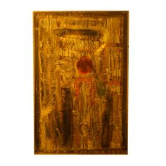 Acid etched wall panel on brass by Bernhard Rohne