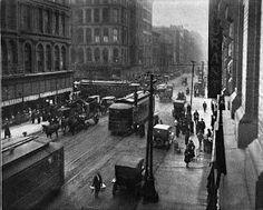 From the Problems of St. Louis by the City Plan Commission (1917) is this view of Washington Avenue, including trolley line and street traff...