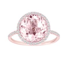 Tell her you love her with this rose gold moragnite ring. $990; don't like the shape just the fact that its pink.