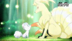 Episode 985 - An Alola! in Kanto! Pokemon Fan Art, Pokemon Gif, Pokemon Comics, Pokemon Stuff, Pokemon Ninetales, Alolan Vulpix, Chibi, Pokemon Official