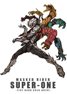 Illustration - Masked Rider Super-One [Five Hand Over Drive] Character Design References, Character Art, Arte Robot, Kamen Rider Series, Ex Machina, Sci Fi Characters, Character Design Inspiration, Creature Design, Comic Art