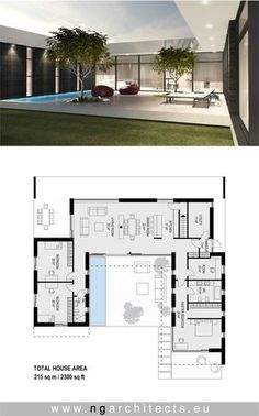 modern villa AJ designed by NG architects www.ngar… – modern villa AJ designed by NG architects www. House Layout Plans, Dream House Plans, Modern House Plans, House Layouts, One Floor House Plans, Bungalow Floor Plans, Modern Floor Plans, Container House Plans, Container House Design
