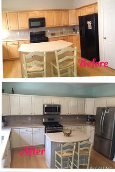 Dated kitchen given a fresh new look with paint and stainless appliances! cabinets are an oil based Shermin Williams Antique White and kitchen island is and oil based Sherwin Williams Light French Grey. Walls are Sherwin Williams Mint Condition.