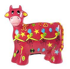 Pink Cow Still Piggy Bank Hand Painted Ceramic Birthday Vintage Ceramic Turtle, Glass Ceramic, Ceramic Clay, Ceramic Painting, Bank Safe, Money Saving Box, Pink Cow, Kids Hands, Hand Painted Ceramics