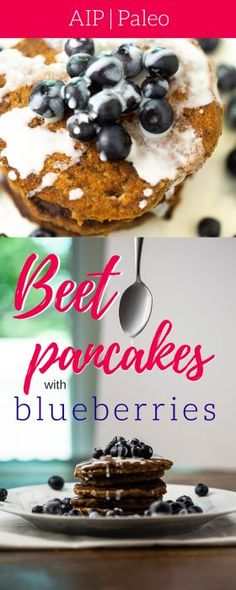 Beet Pancakes with Blueberries (AIP, Paleo) | Let's Create the Sweet Life