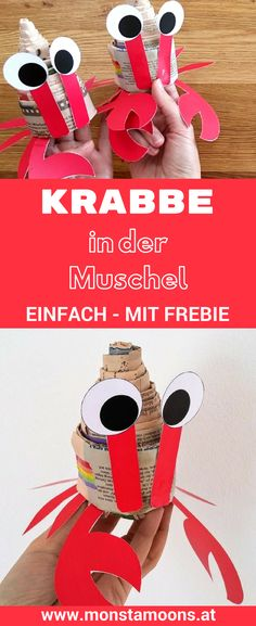 Krabben in der Muschel aus Zeitungspapier Krabben basteln, Basteln mit Zeitungspapier, crab craft, Monstamoons, newspaper crafts, DIY Krabbe, Krebs basteln, Basteln für den Sommer, summer crafts #summer